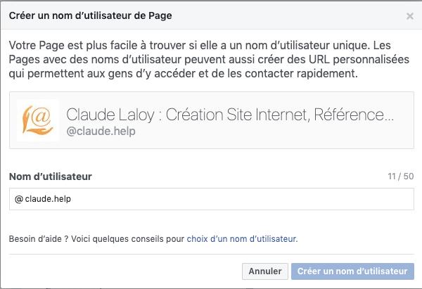 facebook Personnaliser les URL